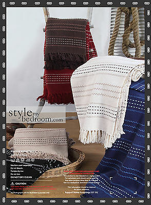 Bescheiden Luxury Stitch Stripe 100% Cotton Sofa / Bed Throw 6 Colours & 3 Sizes