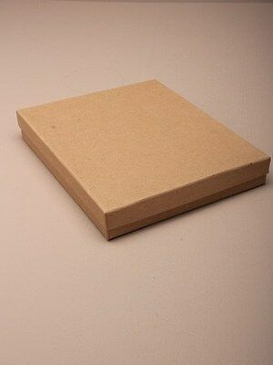 Pack of 12 Natural Brown Card Gift Jewellery Boxes Black Insert Wholesale Bulk