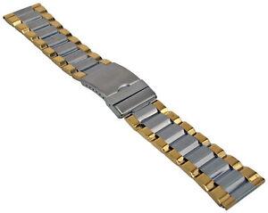 Acero-Inox-Pulsera-de-Reloj-Bicolor-Cinta-Metal-con-Cierre-Desplegable-20-28mm-1