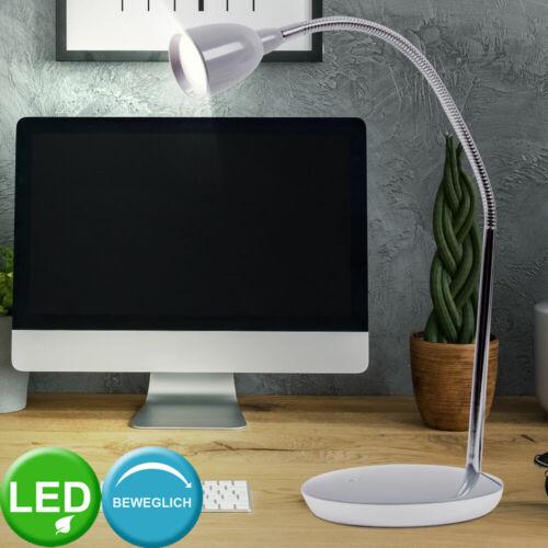 LED Tisch Lampe Metall flexibler Arm Schirm grau Innen Raum Leuchte Beleuchtung