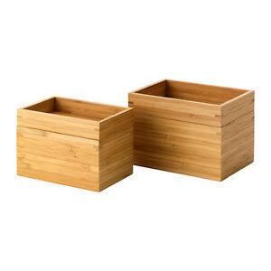 Image is loading IKEA-DRAGAN-STORAGE-BOXES-SET-OF-2-BAMBOO-  sc 1 st  eBay & IKEA DRAGAN STORAGE BOXES- SET OF 2- BAMBOO MADE- IDEAL FOR SMALL ...