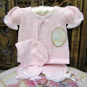 Will-039-beth-NWT-Newborn-Preemie-Baby-Girl-Pink-Knit-Set-Bonnet-Take-Me-Home-Dolls