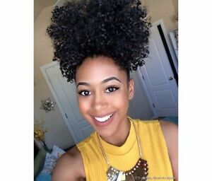 Natural Afro Ponytail Clips In Hair Extensions Kinky Curly
