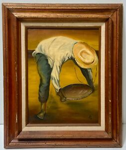 Diego-Rivera-Style-Original-Signed-Oil-Painting-Man-Worker-Labor-Social-Realism