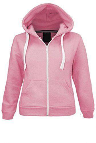 Girls Boys Children Fleece Plain Hoodie Kids Hooded Jacket Zip Up Warm Hoody Top