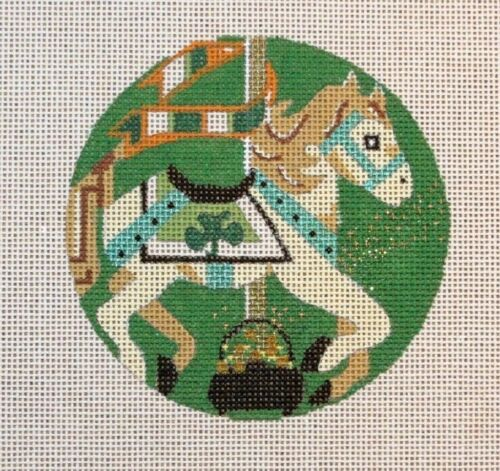 Melissa Prince Designs St. Paddys Carousel Horse Handpainted Needlepoint Canvas