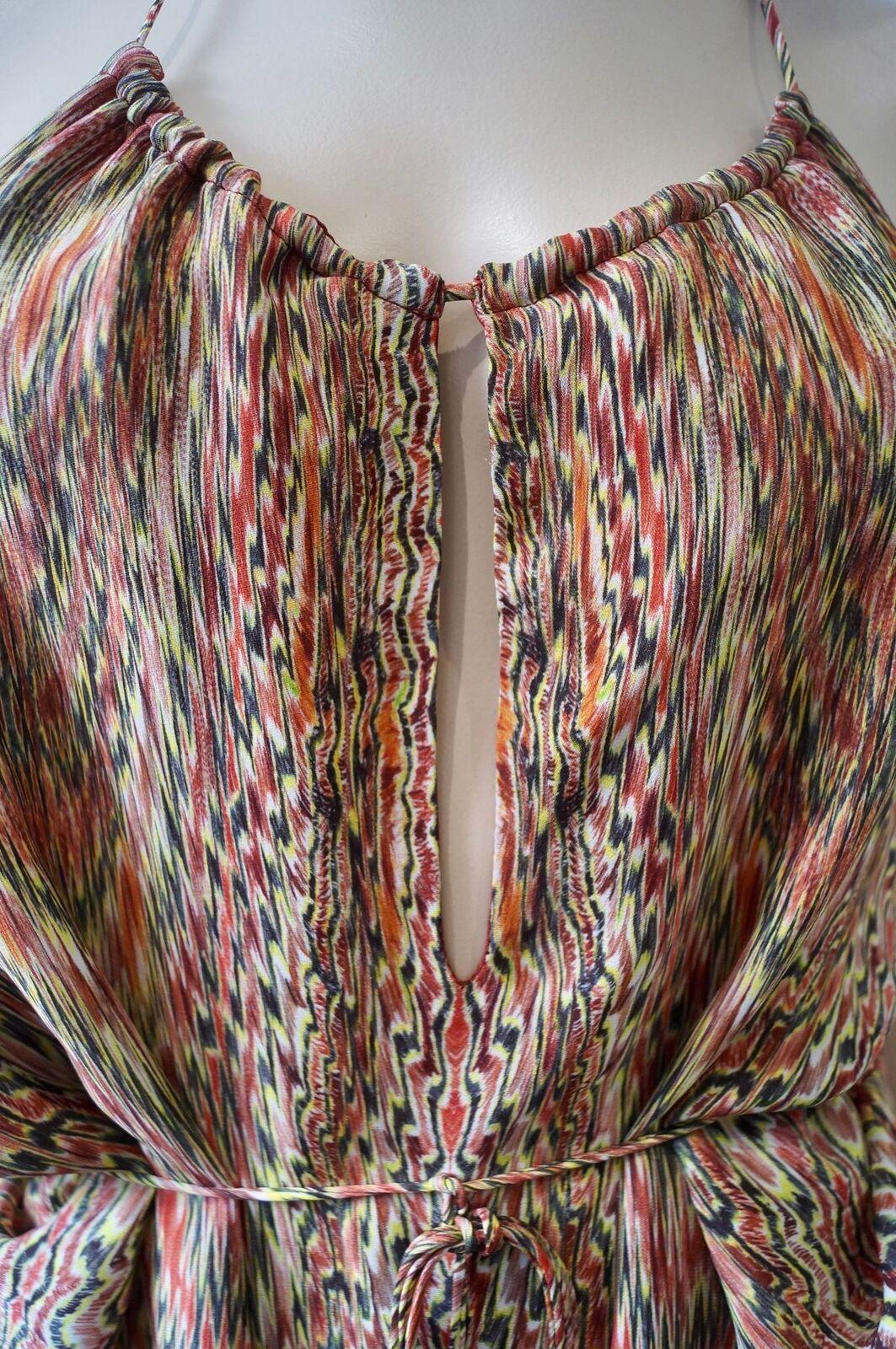 Haute Hippie multi-colore di Seta Stampa Astratta Astratta Astratta Senza Maniche Backless halteneck Top ba539b