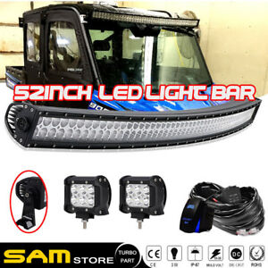 "50/"" Curved Led Light Bar+20//22/""+4/"" Work Lamps Polaris RZR Ranger 900 570 1000"