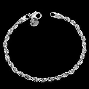 Stunning-925-Sterling-Silver-Layered-Classic-Women-039-s-4MM-Solid-Chain-Bracelet