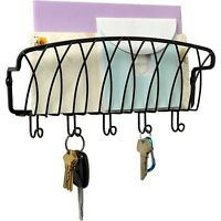 Mail Organizer And Key Holder Wall Mount Rack Letter Black Hook Storage