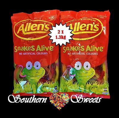 ALLENS SNAKES ALIVE  2 x 1.3KG BULK LOLLIES 2.6KG COLOURFUL LOLLIES