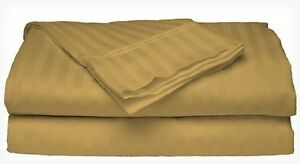 Full-Size-Gold-400-Thread-Count-100-Cotton-Sateen-Dobby-Stripe-Sheet-Set