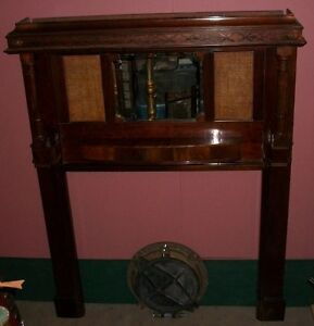 Antique Mahogany Fireplace Mantel Surround Vintage Late 1800 39 S Wood Mirror Ebay