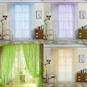 Willow-Pattern-Tulle-Voile-Window-Curtain-Drapes-Panel-Sheer-Divider-Room-Decor