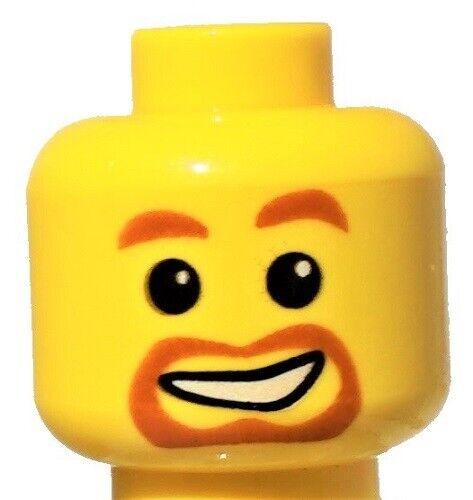 ☀️NEW Lego Minifigure Head Orange Beard around Mouth White Smile