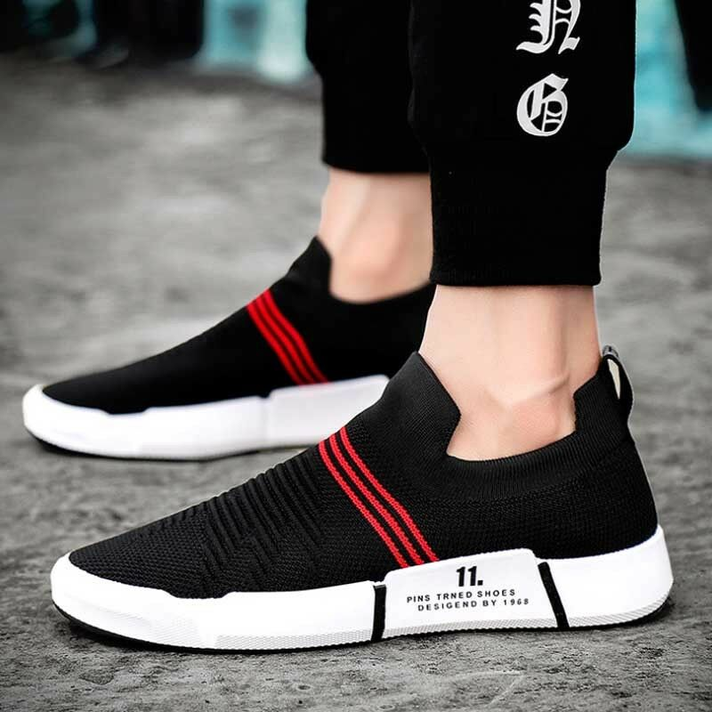 Men's Knitting Sneakers Outdoor Casual Breathable Trainers Running shoes Slip On