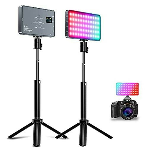 RGB Video Light Rechargeable Built-in Battery LED Camera 360º Full Colour Panel
