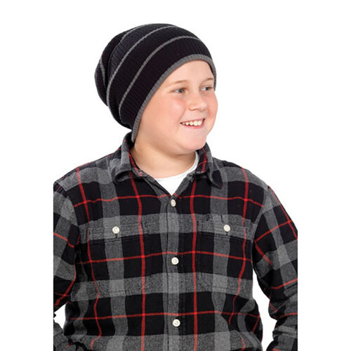 Kids//Childrens Unisex Striped Winter Knitted Slouch Hat HA357