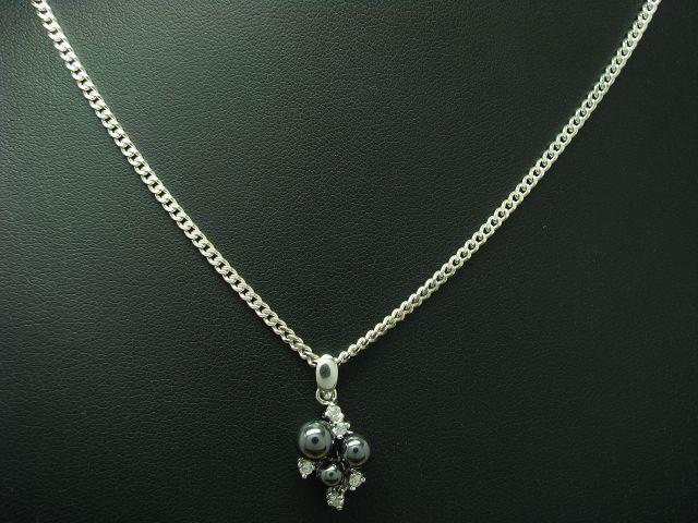 925 Sterling silver Kette & Anhänger mit Hämatit & Zirkonia Besatz   Echtsilver