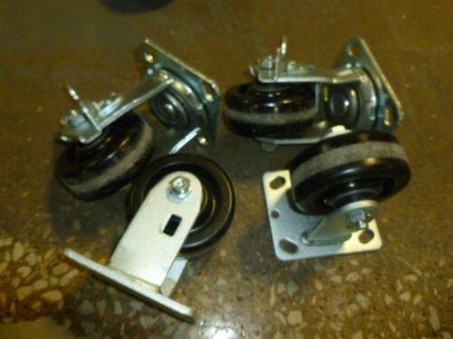 """Lot of 4 Industrial 4/"""" x 1.5/"""" Heavy Duty Swivel Casters Polyurethane  2 rigid"""