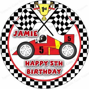 Personalised Racing Party Race Car Go Kart Edible Icing Birthday