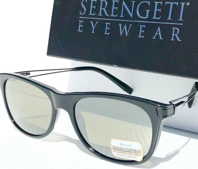 26e3870254e NEW  Serengeti PAVIA Black w POLARIZED Photochromic GREEN Sunglass 8195