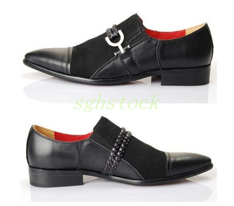 Uomo Vintage Genuine Pelle Pelle Pelle Chain Pointy Toe Slip On Dress Formal Loafers Shoes de3ce1