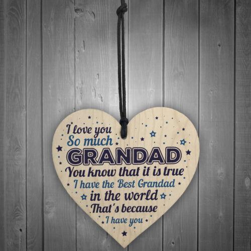 Birthday Christmas Gift For Grandad Handmade Wooden Heart Sign Grandparent Gift