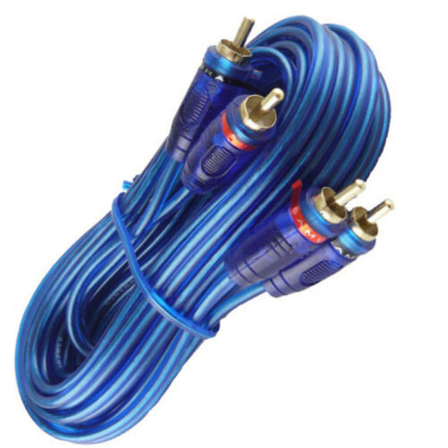 15 Ft 2 Ch Blue Twisted Shielded Car Amp RCA Jack Cables Interconnect 15 Foot
