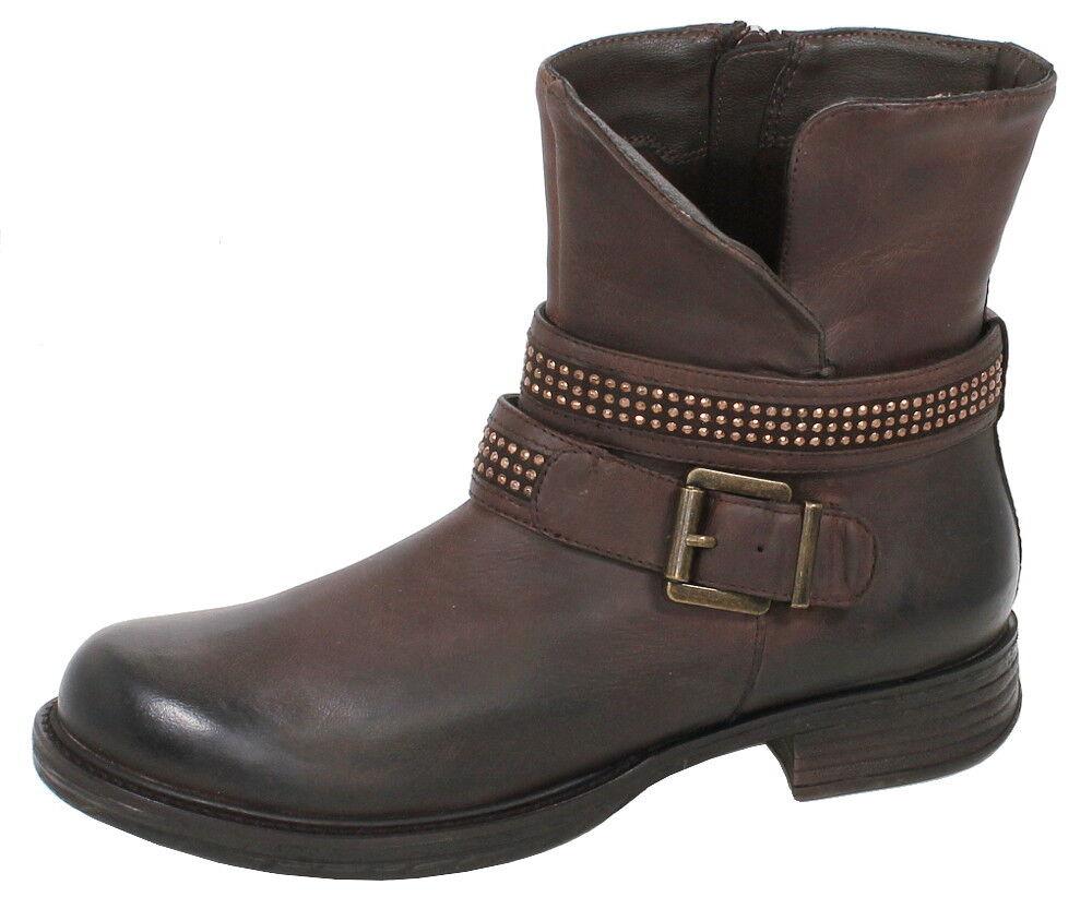 SPM BOVET ANKLE Biker Boots Stiefel dunkel brown Leder gewachst NEU