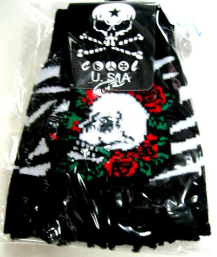 BLACK WHITE STRIPED SKULL RED ROSES KNIT FINGERLESS GLOVES WINTER WOMENS MEN