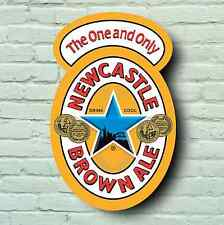 LARGE NEWCASTLE BROWN ALE LAGER BEER LABEL PICTURE BAR PUB ALCOHOL DRINK SIGN
