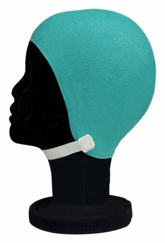 BLUE REEF Moulded Rubber Daisy Flower Ladies Vintage Strapped Swimming Hat Cap