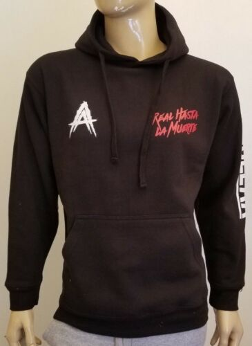 Anuel AA Sleeve Black Hoodie Real Hasta La Muerta Pullover Sweatshirt Bad Bunny