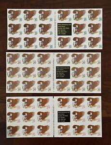 US Scott 2595 2596 2597 3 Unfolded Booklets 17 USA Eagle & Shield 29c MNH