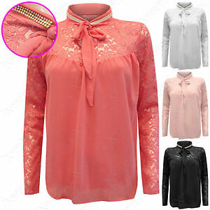 NEW-LADIES-DIAMANTE-NECK-LACE-CHIFFON-BLOUSE-WOMEN-TIE-FRONT-PUSSY-BOW-LINED-TOP