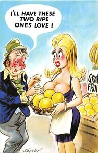 POSTCARD-COMIC-BAMFORTH-Boobs-Grapefruit-Drunk