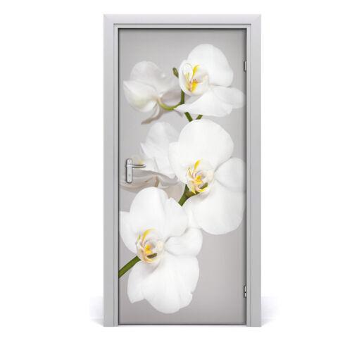 Tür Wandaufkleber Wandtattoo selbstklebend Dekoration Blumen Weiße Orchidee