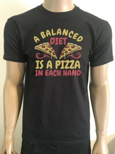 PIZZA T SHIRT BALANCED DIET BIRTHDAY GIFT PRESENT