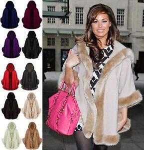 Ladies-Celeb-Womens-Winter-Faux-Fur-Trim-Hooded-Poncho-Cape-Shawl-Coat-One-Size