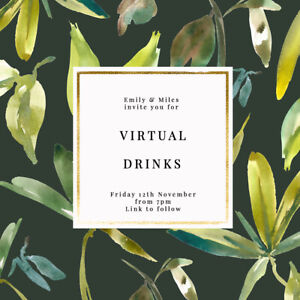 DIGITAL VIRTUAL FILE INVITE FOR ZOOM PARTY, DRINKS, BIRTHDAY, PALM LEAVES