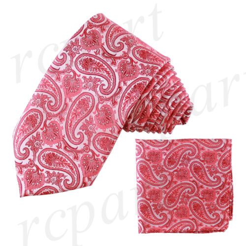 New Men/'s Brand Q Microfiber Neck Tie Necktie /& Hankie Set Paisley Hot PInk