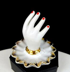 "JAPANESE PORCELAIN HAND WITH SPONGED GOLD RUFFLED RIM 3"" TRINKET RING DISH 1950s"