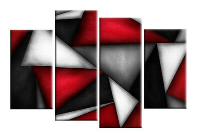 RED BLACK WHITE GREY ABSTRACT CANVAS PICTURE TRIANGLES WALL ART 4 PANEL 40""