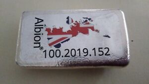 ALBION 2019 HAND POURED 100GMS .999 SILVER BAR