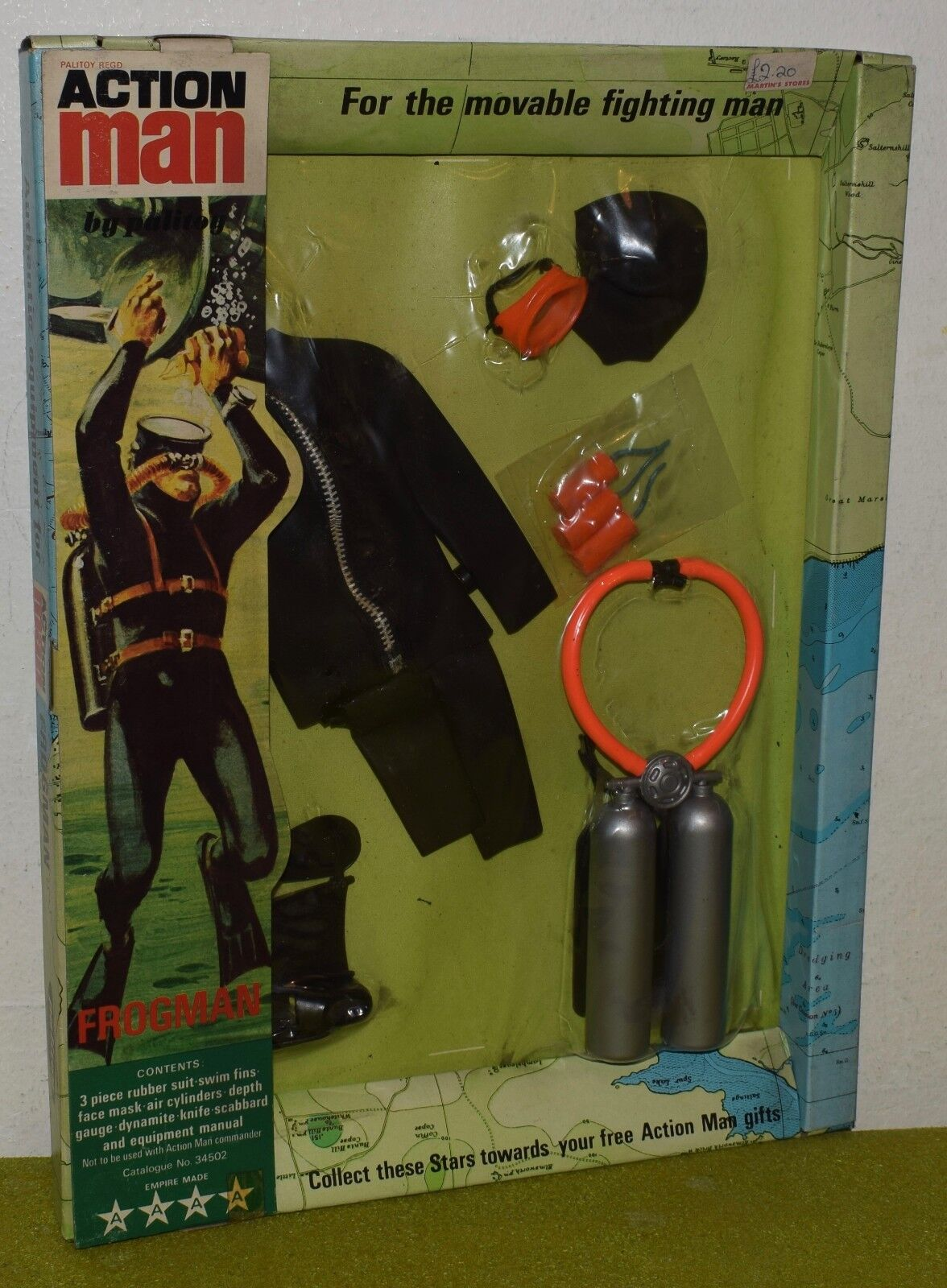 ORIGINAL VINTAGE ACTION MAN CARDED PALITOY FROGMAN ( SUIT HAS PERISHED )