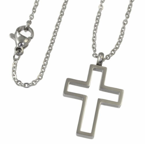 N42 Halskette Edelstahl 316L Anhänger Kreuz Damen Herren Necklace Cross Pendant