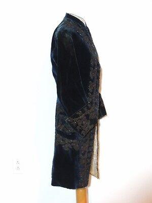 Rare 1790 - 1810's Blue Velvet Cord Beaded Man's Formal Coat - Paris