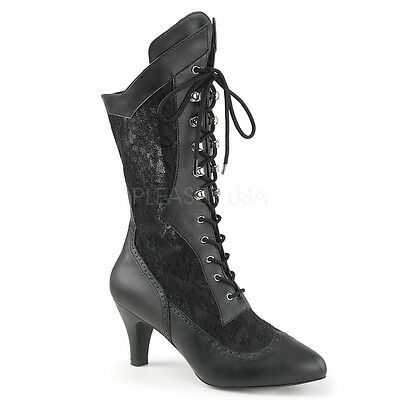 Black Lace Up Victorian Steampunk Costume Boots Wide Calf Womans size 9 10 11 W