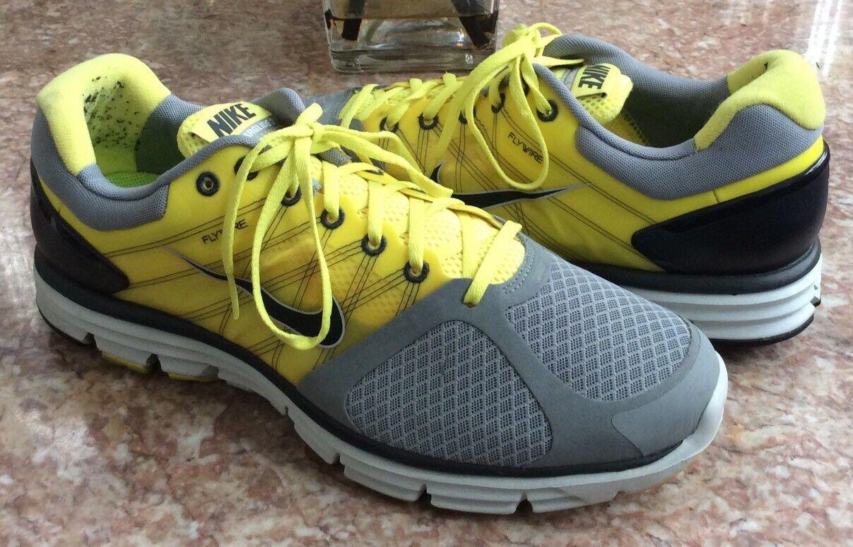 17a2fcb5bde Nike Lunarglide+ 2 Men s Gray Yellow Running Training Training Training Shoes  Size 14 a951b6